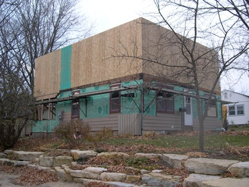 Vivus architecture design archive second floor going up for Sheathing house wrap