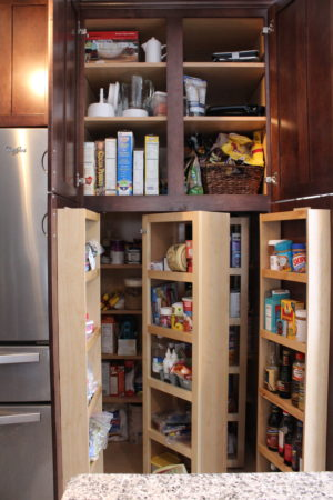 This pull-out pantry can store lots of food.