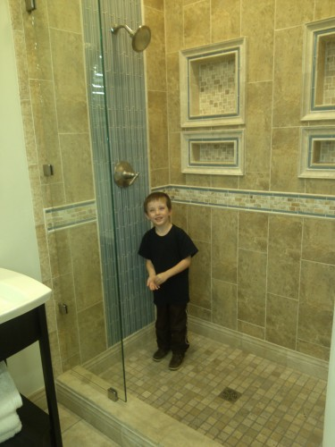 tile glass in shower