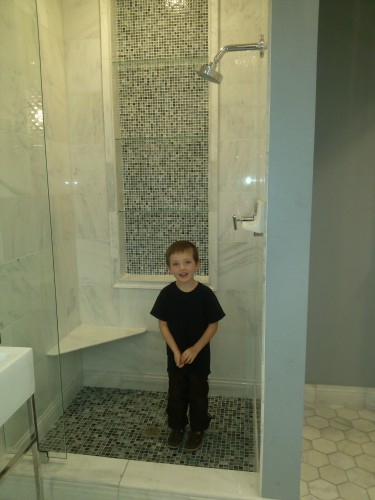 tile marble in shower