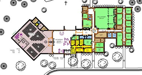 Floor plan of expansion of existing worship space (nave)